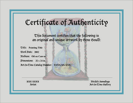 Art-In-Time Gallery-Certificate of Authenticity-Sample