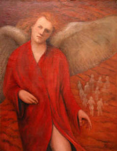 Angel in Red - Oil painting by Gene Gould