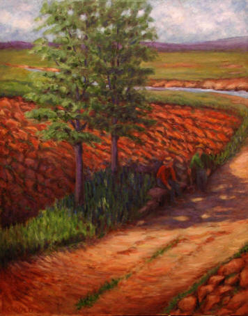 Figurative Painting--Title: Freshly Plowed Fields