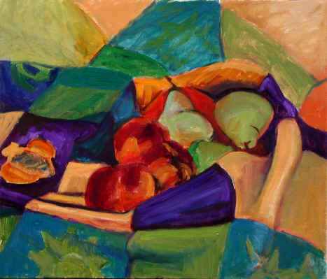 Figurative Painting--Title: Fruit On Towel