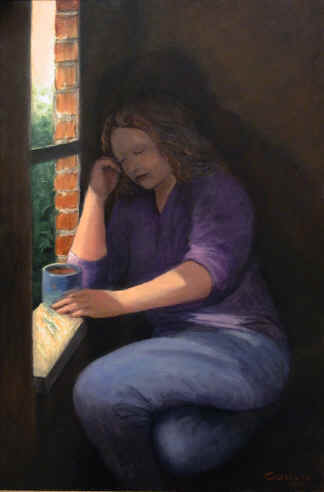 Figurative Painting--Title: Lady and Window