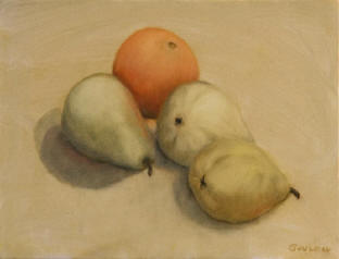 Figurative painting: Pears and orange