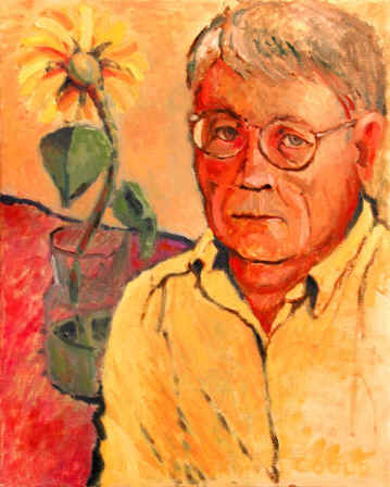 Figurative Painting--Title: Self Portrait With Flower