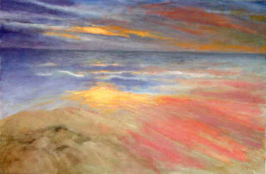 Landscape Painting--Title: Ocean sunset